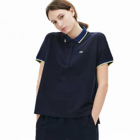 リラックスフィットコントラストラインポロシャツ(半袖) (ダークネイビー)