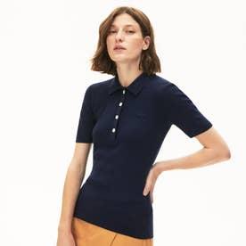 スリムフィット 4ボタンリブカラーポロシャツ (半袖) (ネイビー)
