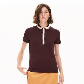 スリムフィット コントラストリブカラーデザインポロシャツ (半袖) (ワイン)