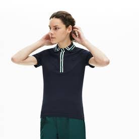 スリムフィット コントラストリブカラーデザインポロシャツ (半袖) (ネイビー)