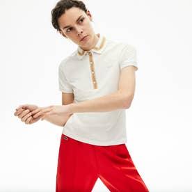 スリムフィット コントラストリブカラーデザインポロシャツ (半袖) (オフホワイト)