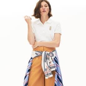 スリムフィット トリプルワニロゴデザインポロシャツ(半袖) (ホワイト)