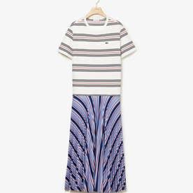 マルチボーダーTシャツドレス (ブルー)