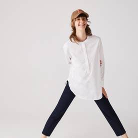 マオカラープルオーバーチュニックシャツ (ホワイト)
