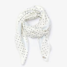 コットン×シルクブレンド ダイアモンドプリントスカーフ (ホワイト)