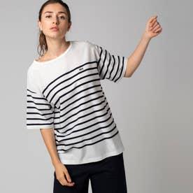 リップルボーダージャージTシャツ (ホワイト)