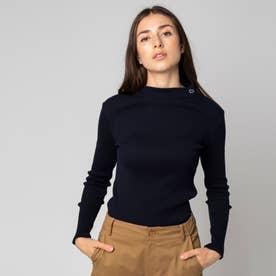 モックネックロングスリーブTシャツ (ネイビー)