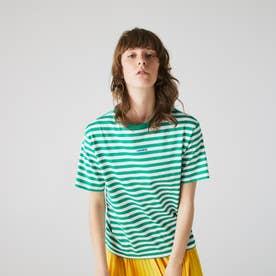シングルボーダークルーネックTシャツ (グリーン)