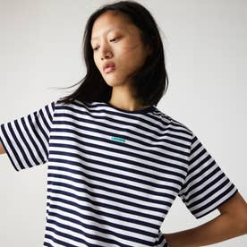 シングルボーダークルーネックTシャツ (ネイビー)