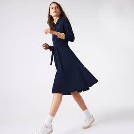 ベルトデザインポロシャツドレス (ネイビー)