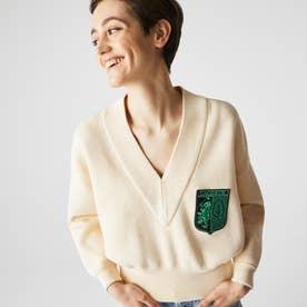 L!VEローゲージワイドVネックセーター (アイボリー)