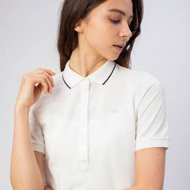 裾リブ付き半袖ポロシャツ (ホワイト)