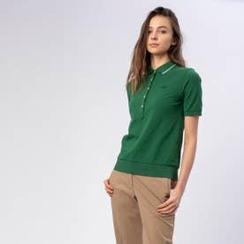 裾リブ付き半袖ポロシャツ (グリーン)