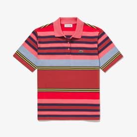 ボーダーポロシャツ(半袖) (ピンク)