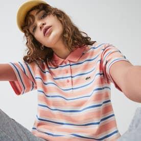 ボーダーポロシャツ(半袖) (ライトピンク)