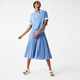 コントラストカラースキッパーネックポロシャツ(半袖) (ブルー)
