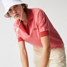 コントラストカラースキッパーネックポロシャツ(半袖) (ピンク)