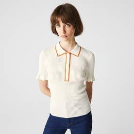 エッジパイピングリブニットポロシャツ (ホワイト)