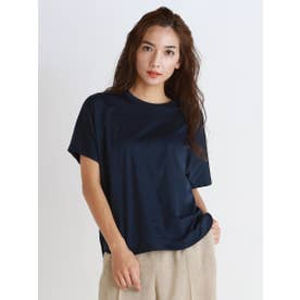 《綿100%》アルビニスムース クルーネックTシャツ (ネイビー)