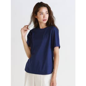 《綿100%》アルビニスムース クルーネックTシャツ (ブルー)
