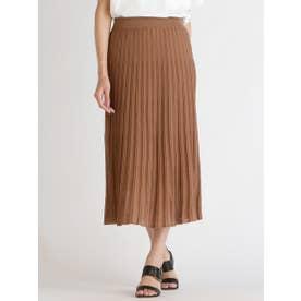 裾シアーが特徴のプリーツニットスカート (キャメル)