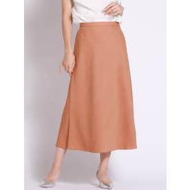 【WEB別注】リネンライクな素材のセミフレアスカート (オレンジ)