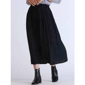【WEB別注】ウエストゴムのギャザースカート (ネイビー)