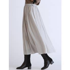 【WEB別注】ウエストゴムのギャザースカート (ライトグレー)
