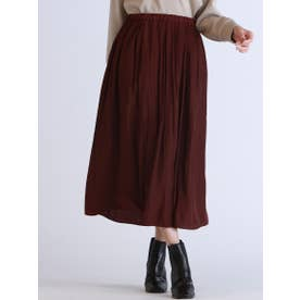 【WEB別注】ウエストゴムのギャザースカート (ボルドー)