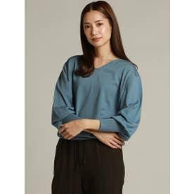 ウール100%のボリューム袖ニット (ブルー)