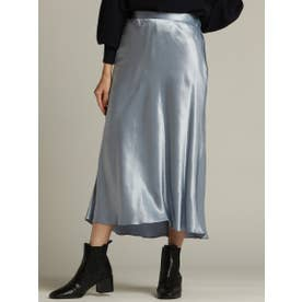 【WEB別注】ヴィンテージサテンのセミフレアースカート (ブルー)