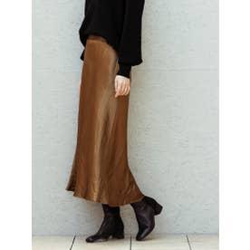 【WEB別注】ヴィンテージサテンのセミフレアースカート (ブラウン)
