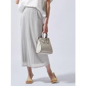 《セットアップ対応》シアー素材のプリーツジャージースカート (ライトグレー)
