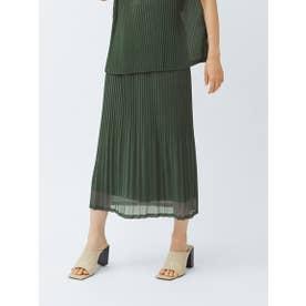 《セットアップ対応》シアー素材のプリーツジャージースカート (カーキ)