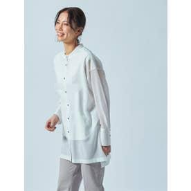 【雑誌掲載】バンドカラーのシアーシャツ《洗濯機で洗える》 (ホワイト)