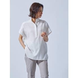 麻調合繊のスタンドカラーシャツ《洗濯機で洗える》 (ホワイト)