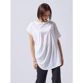 アシンメトリーデザインTシャツ《洗濯機で洗える》 (ホワイト)