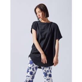 アシンメトリーデザインTシャツ《洗濯機で洗える》 (ブラック)