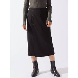 ラップ風フロントボタンスカート (ブラック)