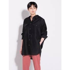 【雑誌掲載】オーガンジーチュニックシャツ (ブラック)