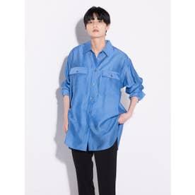 【雑誌掲載】オーガンジーチュニックシャツ (ブルー)