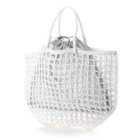 トートバッグ レディース かごバッグ バッグインバッグ ペーパーバッグ(ホワイト)