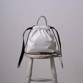 DEN ショルダーバッグ レディース 巾着 ミニバッグ シンプル おしゃれ (ホワイト)