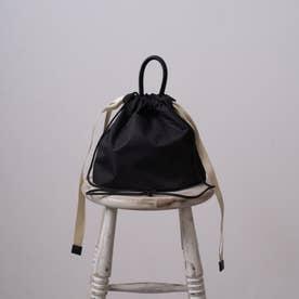 DEN ショルダーバッグ レディース 巾着 ミニバッグ シンプル おしゃれ (ブラック)