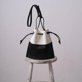HOORN ショルダーバッグ レディース 巾着 ミニバッグ シンプル 配色 おしゃれ (ブラック)
