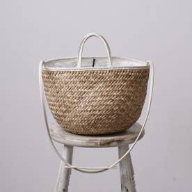 かごバッグ レディース トートバッグ 天然素材 A4 シンプル おしゃれ (ホワイト)