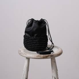 かごバッグ レディース ショルダーバッグ 巾着 シンプル おしゃれ (ブラック)