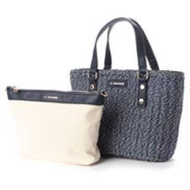 バッグインバッグ付きペーパーかごバッグSサイズ (ネイビー)