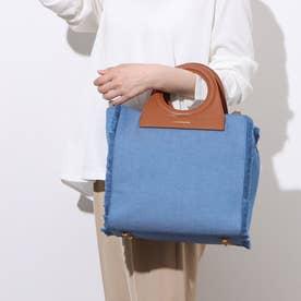 フリンジデニムバッグ Mサイズ (ブルー)