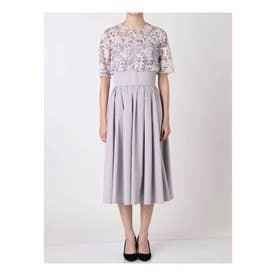 LADYオーバーレースギャザードレス (グレー)